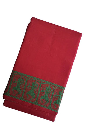 Dance Practice Saree - Dark Maroon Green Dancing Dolls Border