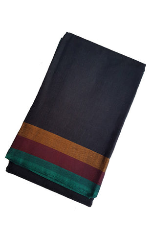 Dance Practice Saree - Plain Black with Multi Color Border
