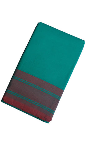 Dance Practice Saree - Plain Teal Green Maroon Border
