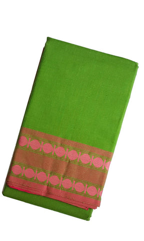 Dance Practice Saree - Rudhraksha Design Parrot Green Pink Border