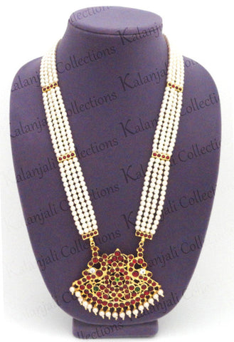 Temple Design 4 Lines Pearl Long Necklace LN2019