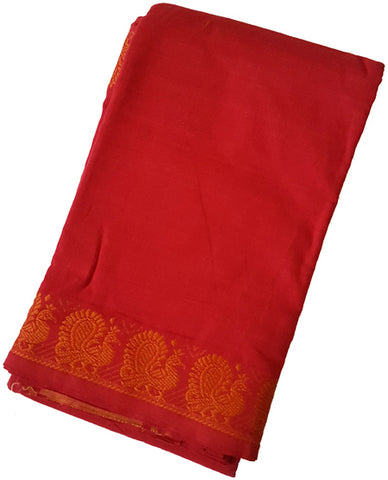 Peacock Dance Practice Saree - Red Orange border