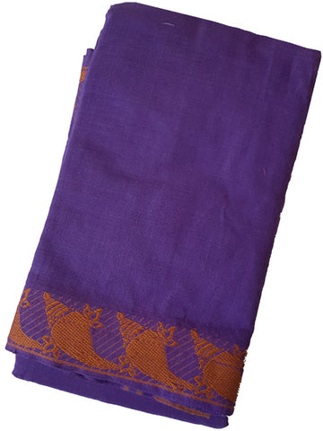 Shankam Dance Practice Saree - Royal Purple Orange border