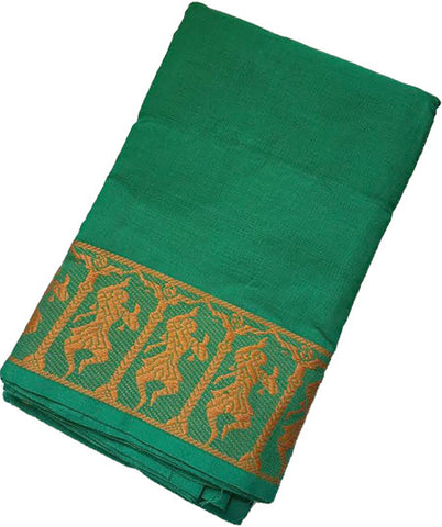 Dance Practice Saree - Dark Green Dancing Dolls Orange Border