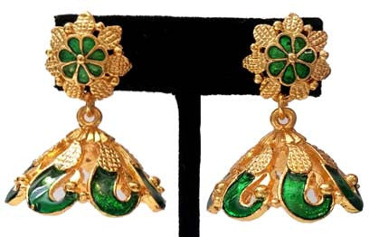Kerala Style Palakka Earrings - EJK2603G