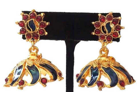 Kerala Style Palakka Earrings - EJK2605B