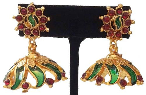 Green Enamel Jhumki Earrings EJK2605G