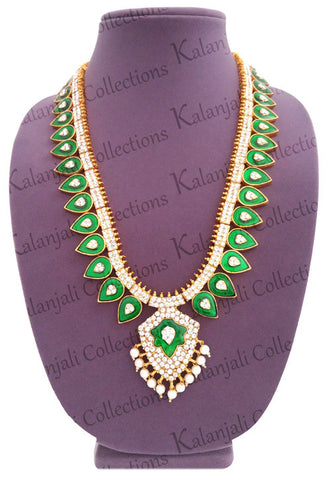 Green Enamel White Stones Pallak Long Necklace-LN2007