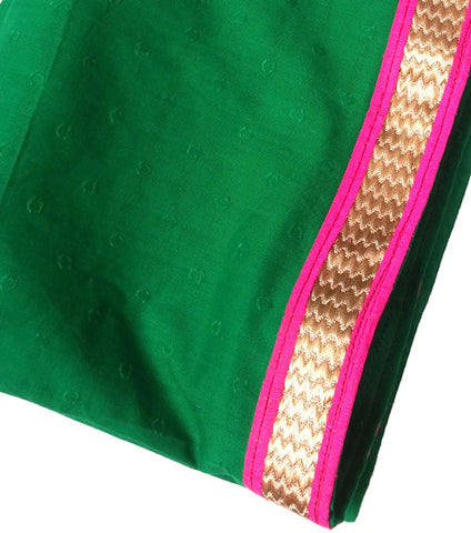 Dance Practice Chunni for Kids - Green with Pink Zari Border