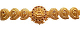 Adult Size Red & White Stones Plain Gold Mango Belt