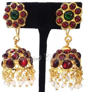 Kempu Pearl Jhumki Earrings - JMK2508