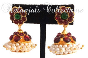Kempu Pearl Jhumki Earrings - JMK2510