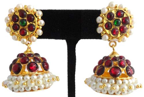 Kempu Pearl Jhumki Earrings - JMK2512