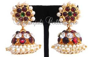 Kempu White Stones Jhumki Earrings - JMK2514