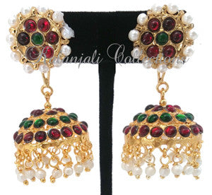 Pearl Kempu Jhumki Earrings Lightweight - JMK2515