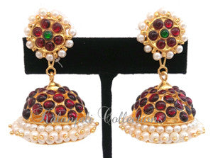 Pearl Kempu Jhumki Lightweight Earrings - JMK2516