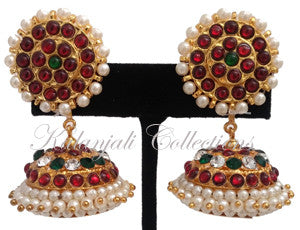 White and Green Stone Jhumki Earrings -JMK2518