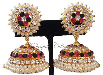 Elegant Multi Color Stones Jhumki Earrings - JMK2519M