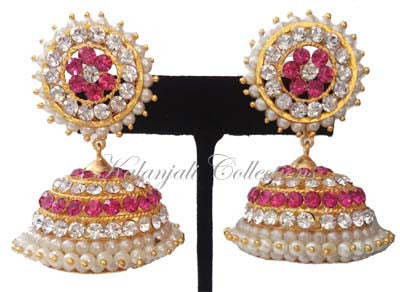 Elegant Pink Whites Stones Jhumki Earrings - JMK2519P