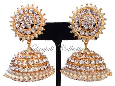 Elegant White Stones Jhumki Earrings - JMK2519W