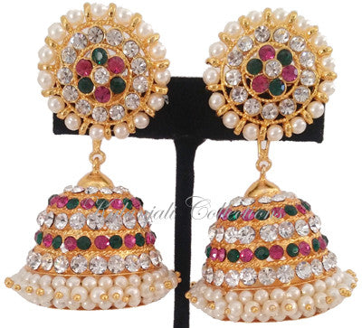 Multi Color Stones Jhumki Earrings - JMK2520M