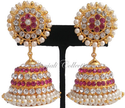 White Pinkt Stones Jhumki Earrings - JMK2520P