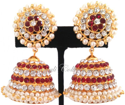 White Red Stones Jhumki Earrings - JMK2520R