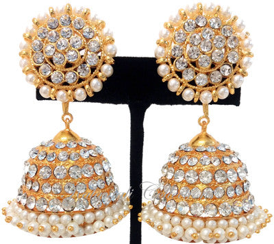 White Stones Jhumki Earrings - JMK2520W