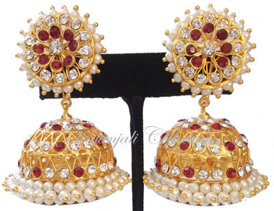White Red Stones Jhumki Earrings - JMK2521R