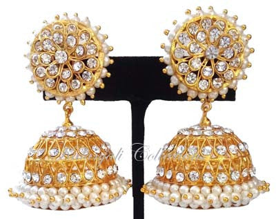 White Stones Jhumki Earrings - JMK2521W
