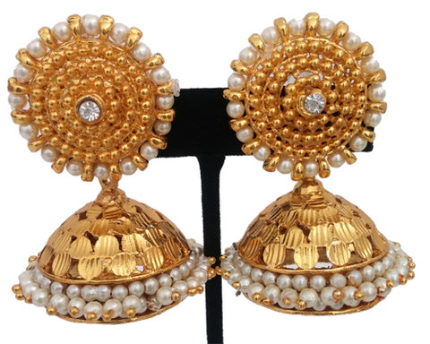 Elegant White Stones Jhumki Earrings-JMK359