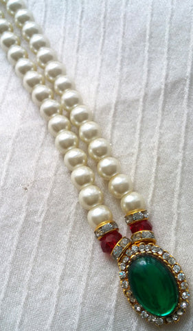Krishna Costume Jewelry 1 Step Pearl Necklace