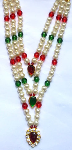 Krishna Costume Jewelry 3 Step Pearl Necklace