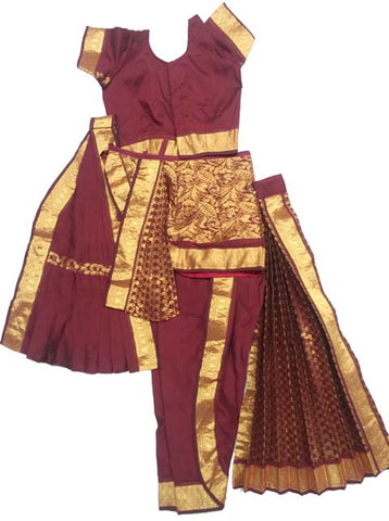 maroon kuchipudi dress