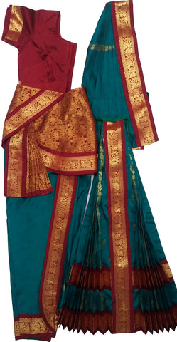Maroon & Peacock Green Ready to Wear Kuchipudi Dance Costume.