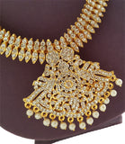 White Stones Bharatanatyam Kuchipudi Long Necklace Haaram-LN2003