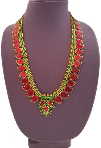 Red Enamel Green Kemp Pallak Long Necklace-LN2006