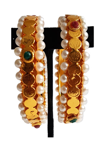 Imitation Fancy Bangle - Laxmi Kaasu with White Pearl