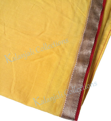 Dance Practice Chunni for Kids - Mango Yello with Gold Border