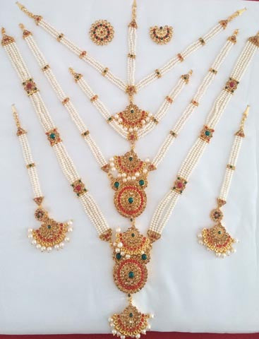 Multi Color Stones Pearl Jewelry Set Kuchipudi Bharatanatyam STNSET804
