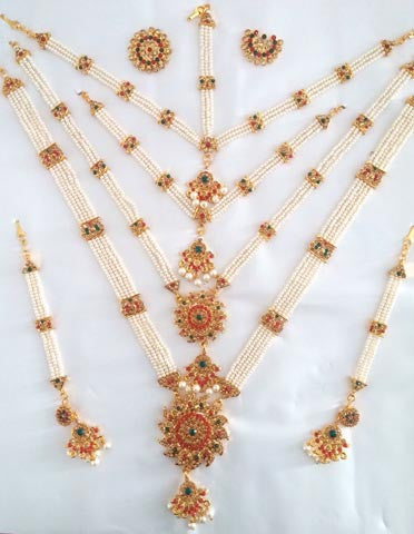 Multi Color Stones Pearl Dance Jewelry Set Kuchipudi Bharatanatyam STNSET806
