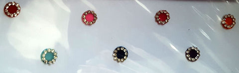 Fancy Round Multi Color Bindi with Stones