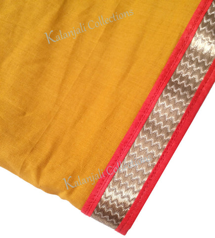 Dance Practice Chunni for Kids - Mustard Yello with Red and Gold Border