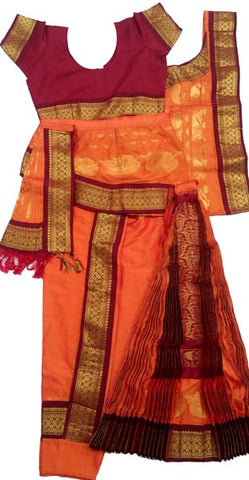 Kuchipudi Dress Orange Maroon