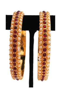 Kempu and Pearls Bangles
