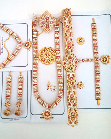 Red White Stones Dance Jewelry Set for Kuchipudi Bharatanatyam STNSET813