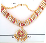 Pink White Stones Dance Jewelry Set for Kuchipudi Bharatanatyam STNSET813