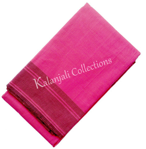Plain Dance Practice Saree - Hot Pink with light black border