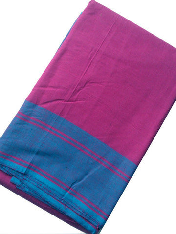 Plain Dance Practice Saree Dark Purple Pink with Blue plain border