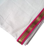 Dance Practice Chunni for Kids - White with Pink Zari Border